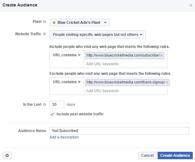 Custom Facebook Audience Retargeting