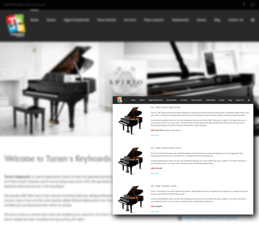 Turners Keyboards Website Design